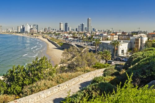 Coastline view of Tel-Aviv, viewed from Jaffa-nes-mobile