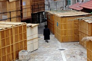 Sukkah booths during Sukkot Jewish holiday in Mea Shearim