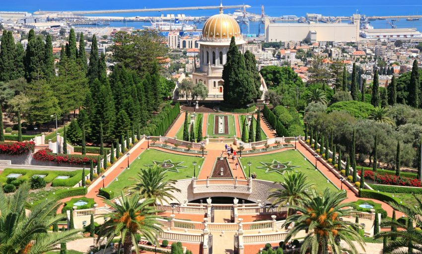 Bahai gardens and temple on the slopes of the Carmel Mountain and view of the Mediterranean Sea and bay of Haifa city, Israel - nesmobile