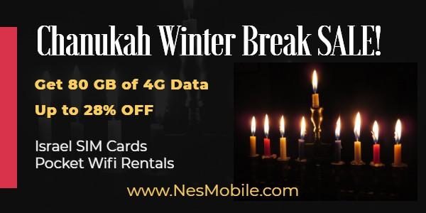 Chanukah Winter Break Sale 2020 NES Mobile Israel sim cards